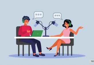An animated illustration of two guys discussing on a podcast