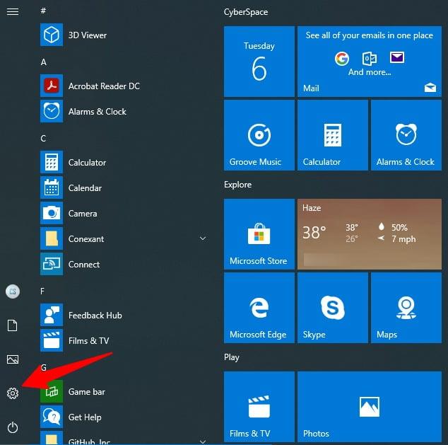 Screenshot of Cogwheel icon of Settings in Windows 10