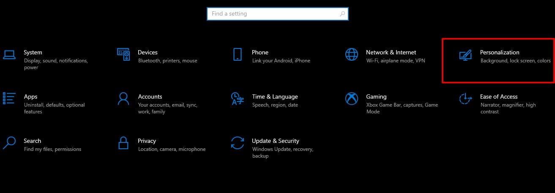 Screenshot of Personalization tab in Settings of Windows 10