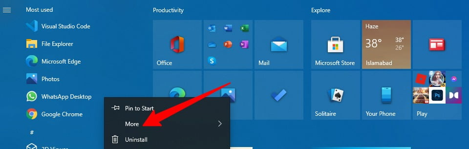 Screenshot of Removing an app from Most Used App in Start menu