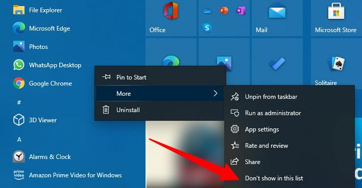 Screenshot of Removing the app from Most Used App in Start menu