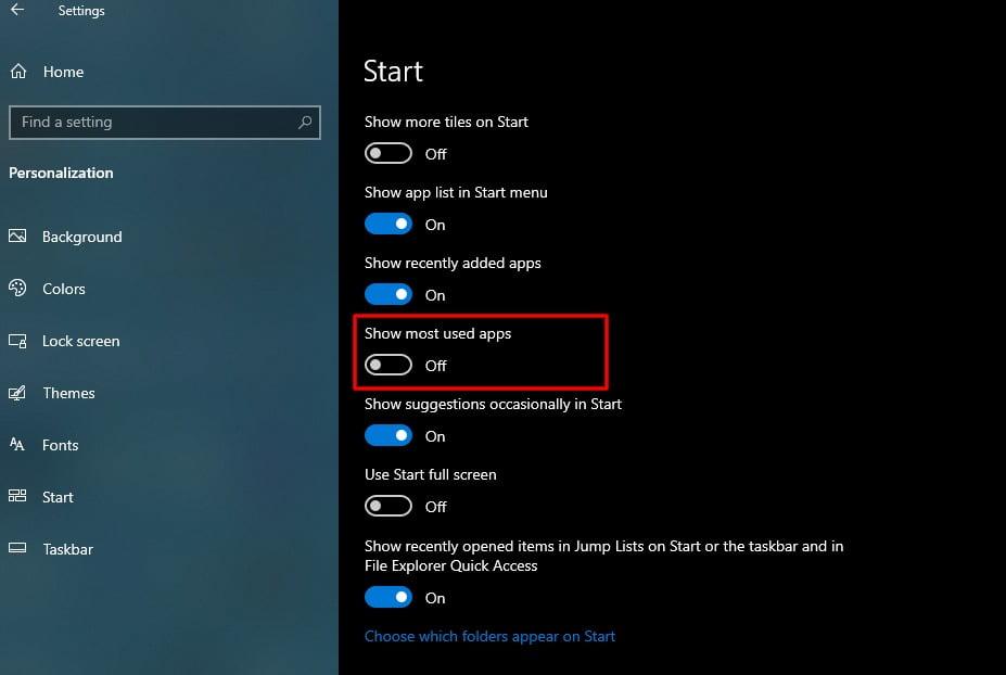 Screenshot of Start tab in Settings of Windows 10