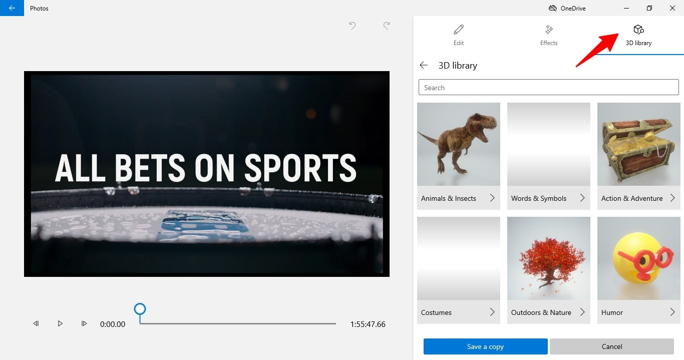 screenshot of 3d library in the video editor of Windows 10