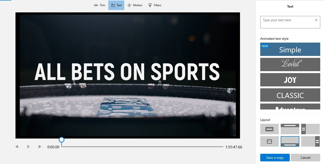 Screenshot of Add text on videos in video editor of windows 10