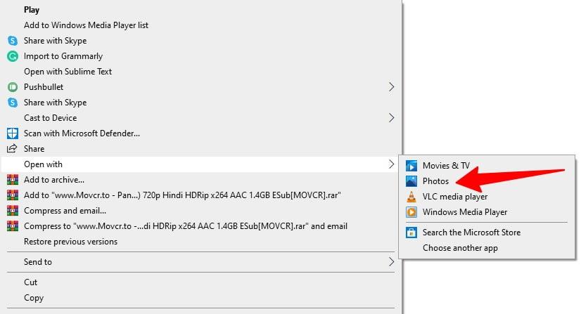 Screenshot of Open with Photos drop-down menu