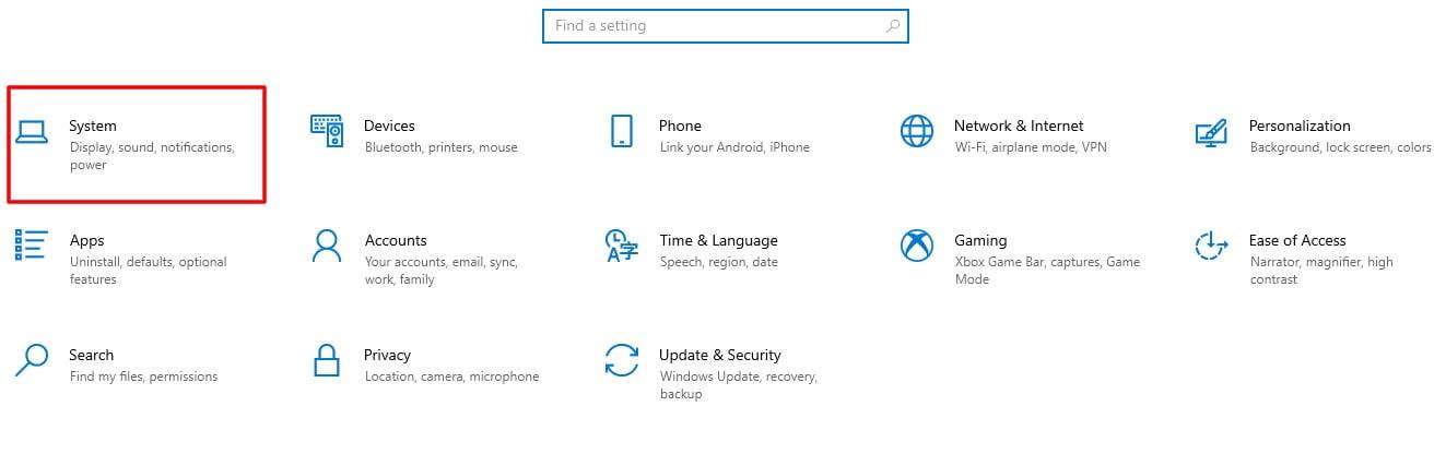 Screenshot of System tab in Windows 10