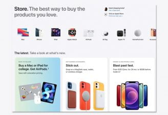 screenshot of Apple's redesigned online store