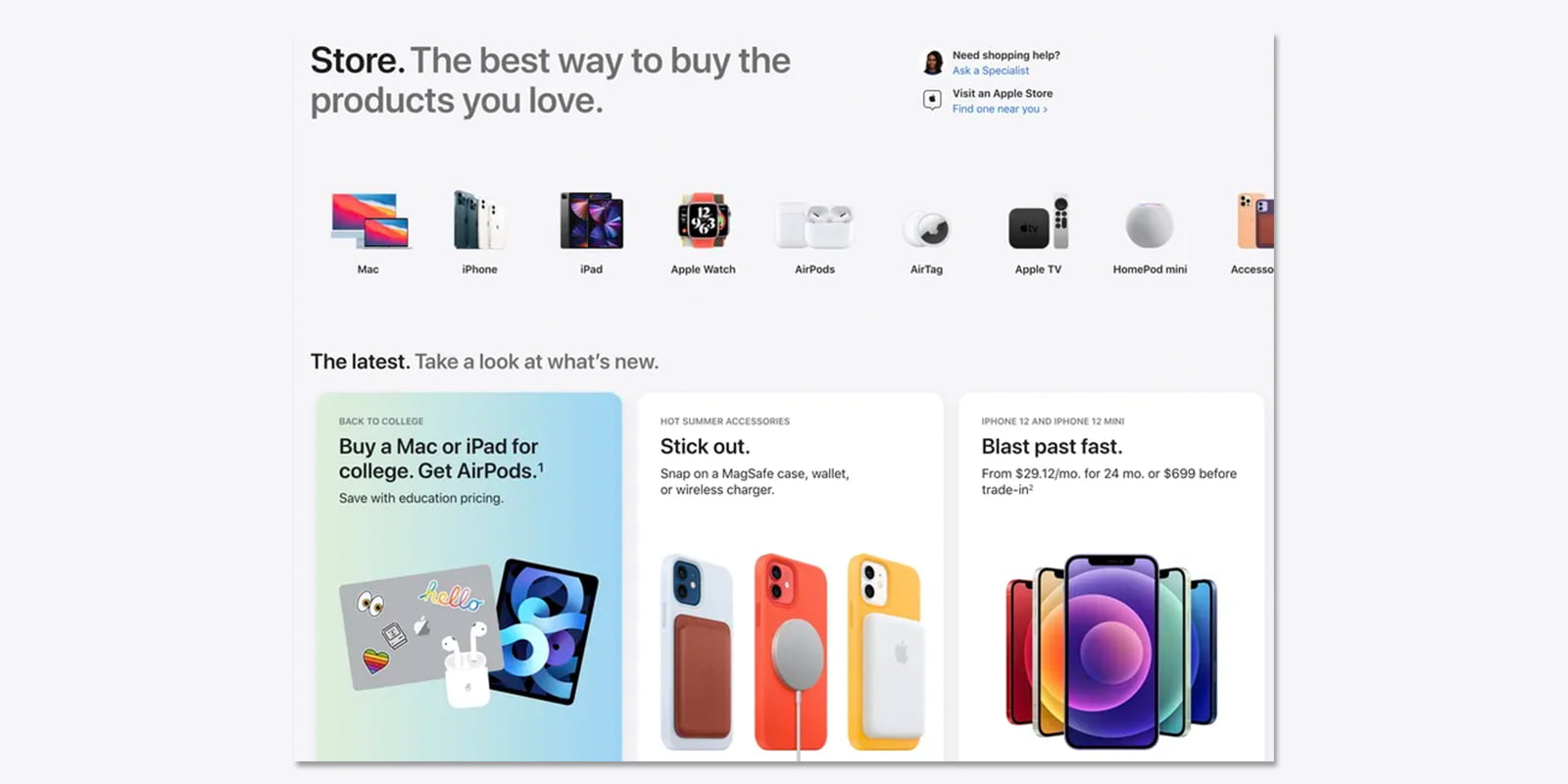 Apple redesigns its online store