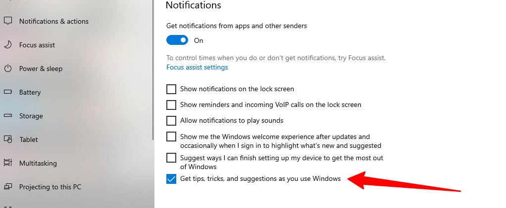 Screenshot of disable tricks and tips in Windows 10