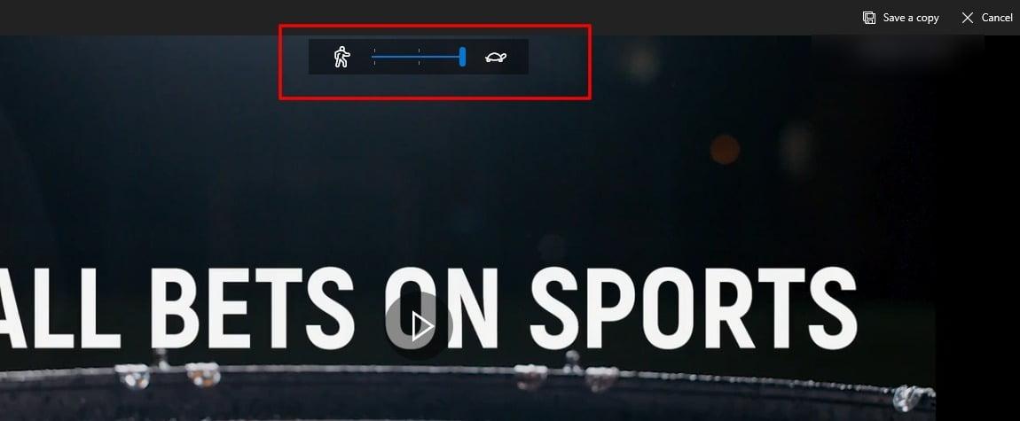 screenshot of slo-mo effect in the video editor of Windows 10