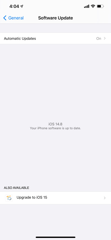 iOS update screenshot