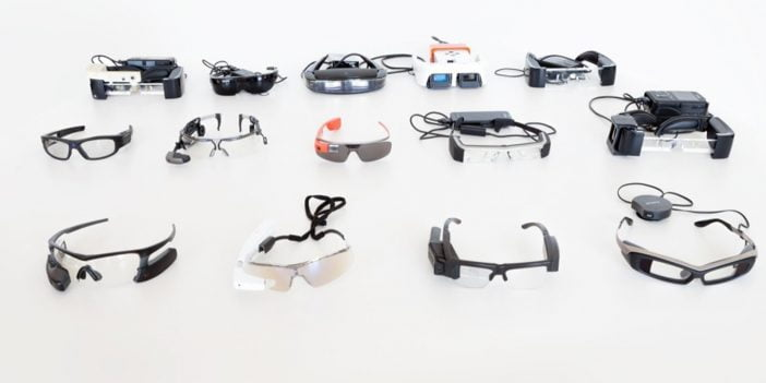 Some smart glasses arranged on a table