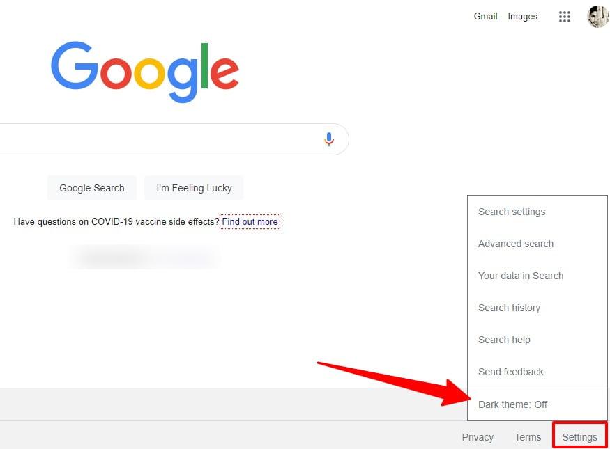 Google search dark mode step 1